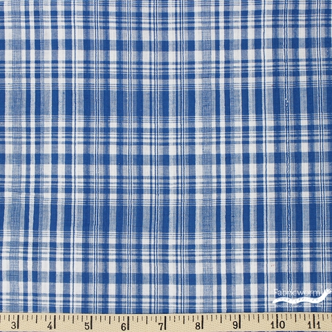 Imported Woven Yarn-Dyes, Seersucker, Plaid Navy