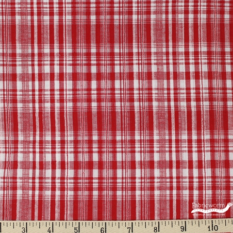 Imported Woven Yarn-Dyes, Seersucker, Plaid Red