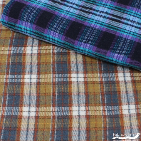 Imported Woven Yarn-Dyes, Windstar Double Brushed FLANNEL, Plaid Grey Khaki