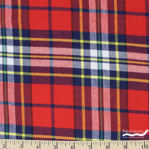Imported Woven Yarn-Dyes, Windstar FLANNEL, Plaid Red Navy