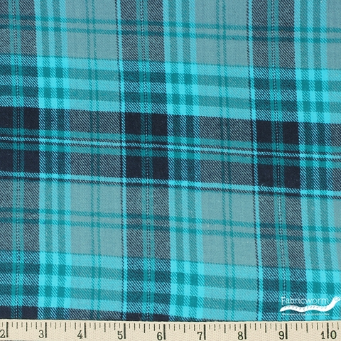 Imported Woven Yarn-Dyes, Windstar FLANNEL, Plaid Teal Navy