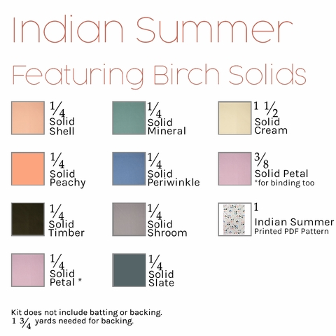 Indian Summer Quilt Kit Featuring Birch Organic Solids (PRECUT)