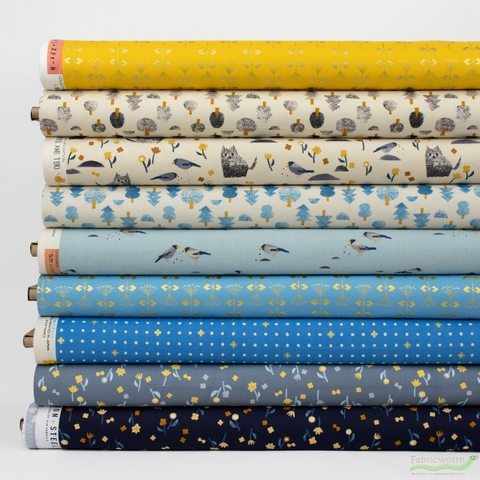 Itsuko Naka for Cotton + Steel, Neko and Tori, Blue in HALF YARDS 9 Total