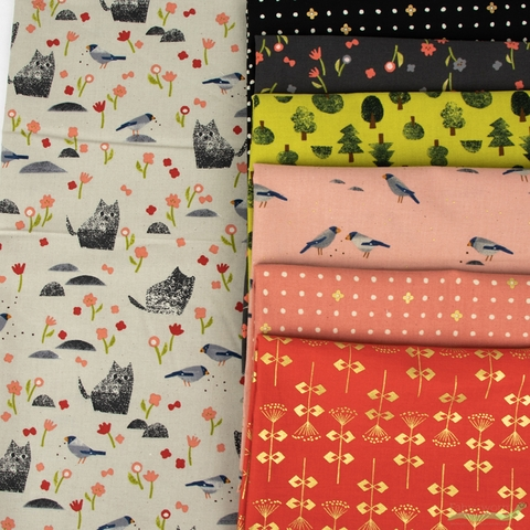 Itsuko Naka for Cotton + Steel, Neko and Tori, Coral in HALF YARDS 7 Total