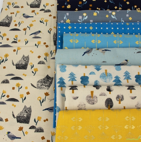 Itsuko Naka for Cotton + Steel, Neko and Tori, Flower Picking Navy