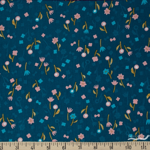 Itsuko Naka for Cotton + Steel, Neko and Tori, RAYON, Flower Picking Blue