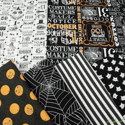 J. Wecker Frisch for Riley Blake, Costume Maker's Ball, Black in FAT QUARTERS 6 Total