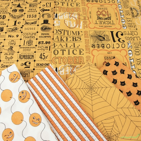 J. Wecker Frisch for Riley Blake, Costume Maker's Ball, Orange in FAT QUARTERS 6 Total