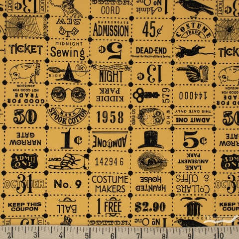 J. Wecker Frisch for Riley Blake, Costume Maker's Ball, Ticket Grid Cream