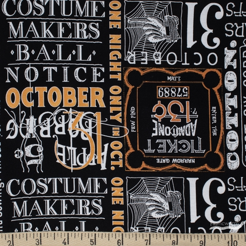 J. Wecker Frisch for Riley Blake, Costume Maker's Ball, Ticket Text Black