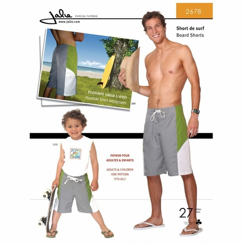 Jalie Sewing Patterns, No 2678, Men's and Boy's Board Shorts