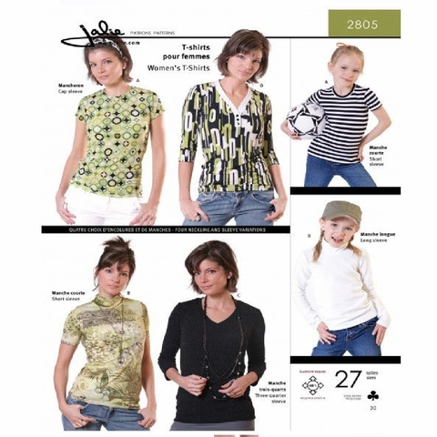 Jalie Sewing Patterns, No 2805, Women's and Girl's T-Shirt