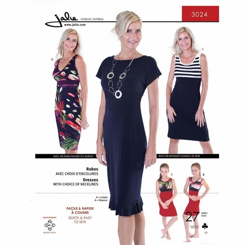 Jalie Sewing Patterns, No 3024, Women's and Girl's Knit Dress