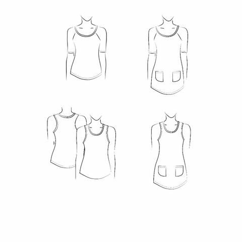 Jalie Sewing Patterns, No 3245, Women's and Girl's Raglan Tee, Racerback Tank and Tunics