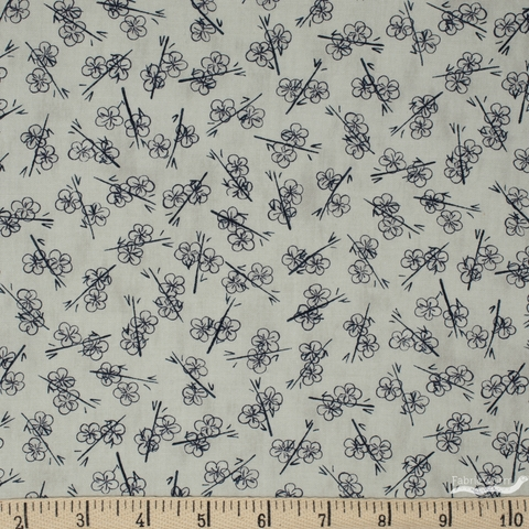 Janet Clare for Moda, Origami, Plum Blossom Pale Grey