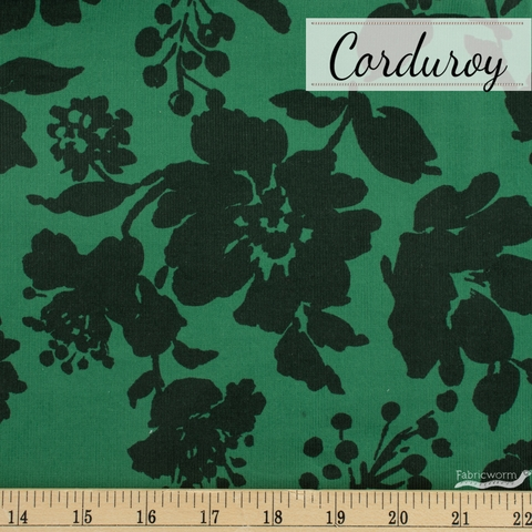Japanese Import, Baby Wale Corduroy, Blooming Beauty Green