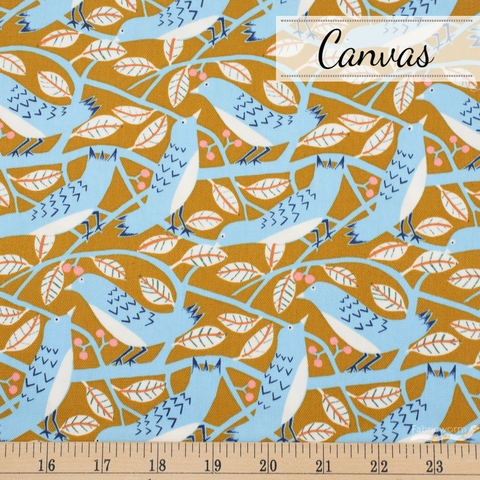 Japanese Import, Canvas, Berry Birds Camel