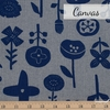 Japanese Import, Canvas, Floral Stamp Grey