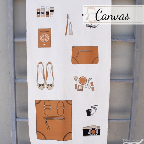 "Japanese Import, Canvas, Sewing Trip Brown (24"" Panel)"