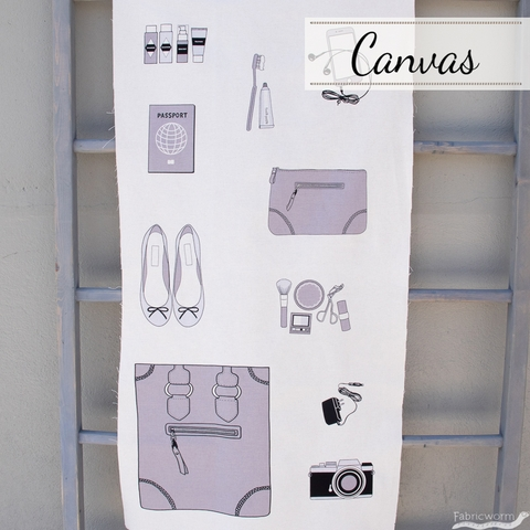 "Japanese Import, Canvas, Sewing Trip Grey (24"" Panel)"