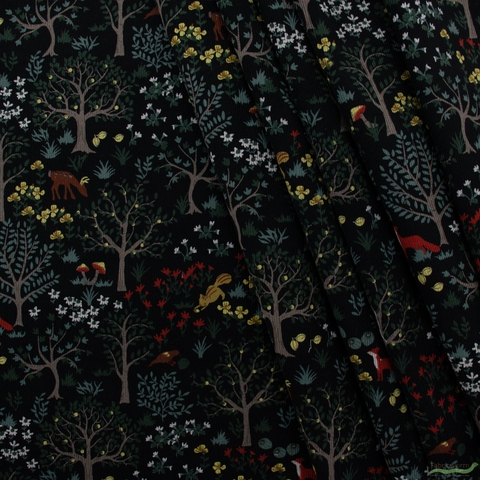 Japanese Import, Corduroy, Forest Frolic Black