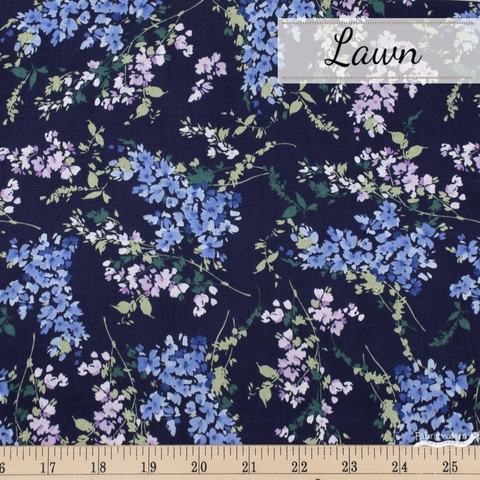 Japanese Import, Cotton Lawn, Floral Wisps Navy