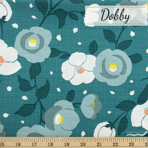Japanese Import, Dobby, Moonlit Blooms Teal