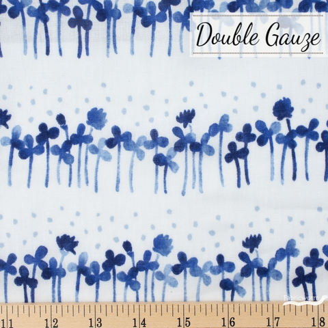 Japanese Import, Double Gauze, Clover Rows Blue