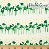 Japanese Import, Double Gauze, Clover Rows Green