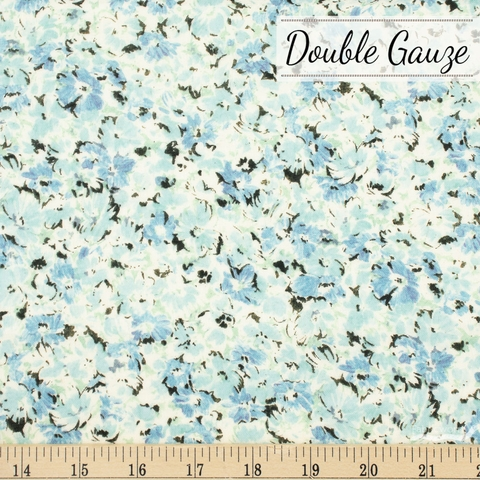 Japanese Import, Double Gauze, Floral Covers Blue