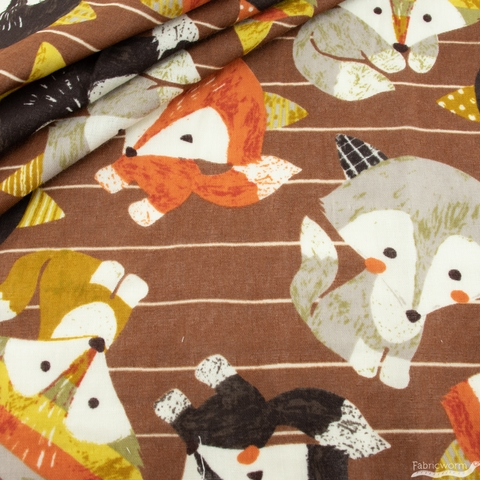 Japanese Import, Double Gauze, Friendly Foxes Brown