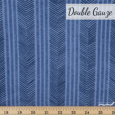 Japanese Import, Double Gauze, Herringbone Stripe Sea