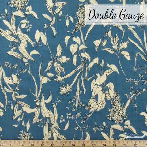 Japanese Import, Double Gauze, Scattered Floral Blue