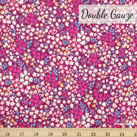 Japanese Import, Double Gauze, Sprinkled Spring Magenta
