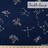 Japanese Import, Embroidered Double Gauze, Firework Stars Night
