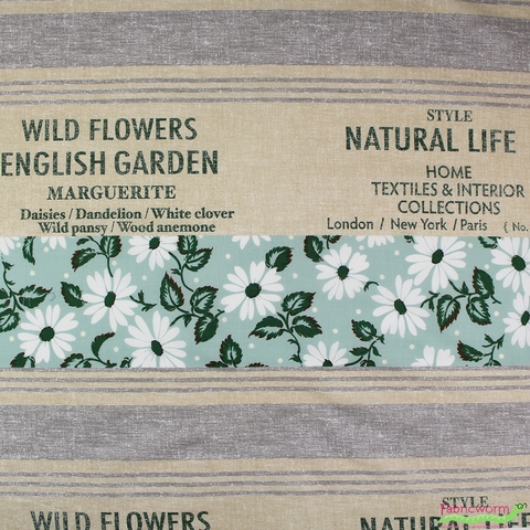"Japanese Import, Floral Feedsack Mint (23"" Panel)"