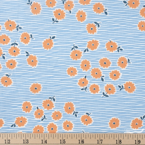 Japanese Import, Floral Stripe Blue