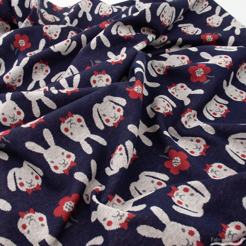 Japanese Import, Knit Jaquard, Bowtie Bunny Navy