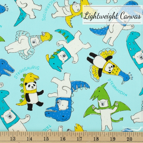 Japanese Import, Lightweight Canvas, Bears in Costumes Bright Sky