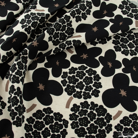 Japanese Import, Lightweight Canvas, Blossom Bunch Black on Natural