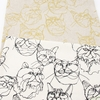 Japanese Import, Lightweight Canvas, Cat Sketch Natural Metallic Gold
