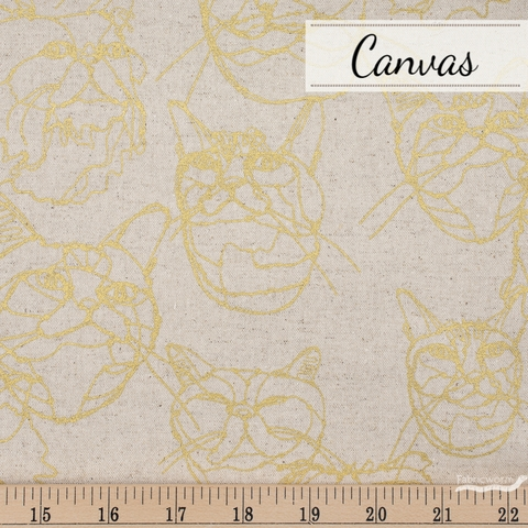Japanese Import, Lightweight Canvas, Cat Sketch Natural Metallic Gold Fat Quarter