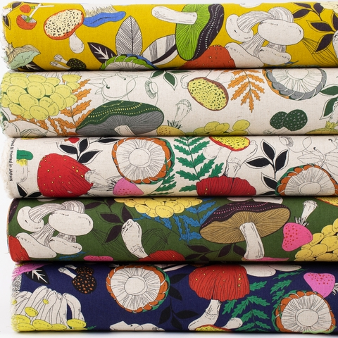 Japanese Import, Lightweight Canvas, Funky Fungi Natural Neutral