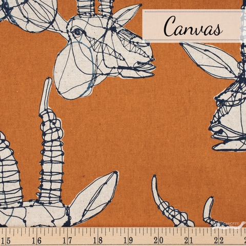 Japanese Import, Lightweight Canvas, Gazelle Sketch Pumpkin Fat Quarter