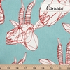 Japanese Import, Lightweight Canvas, Gazelle Sketch Turquoise