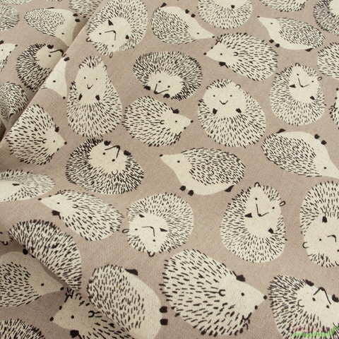 Japanese Import, Lightweight Canvas, Handsome Hedgehogs Taupe