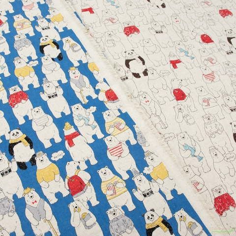 Japanese Import, Lightweight Canvas, Happy Bears Blue