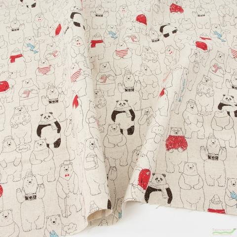 Japanese Import, Lightweight Canvas, Happy Bears Natural