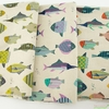 Japanese Import, Lightweight Canvas, Patterned Fish Natural Ocean