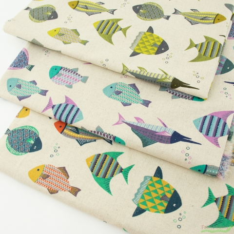 Japanese Import, Lightweight Canvas, Patterned Fish Natural Tropical